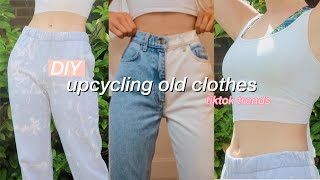 using tiktok DIY trends to UPCYCLE my old clothes
