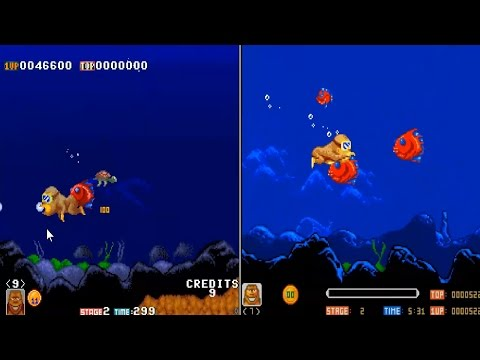 LETS COMPARE TOKI IN ARCADE (ORIGINAL RELEASE - NO PORT) AND IN AMIGA (PORT FROM ORIGINAL RELEASE)
