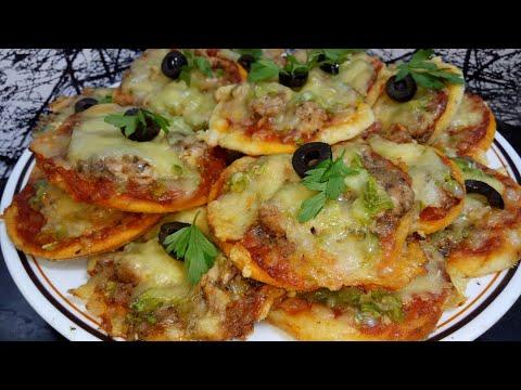 بيتزا صغار بعجين هش ورطب حشوة لذيذة وسهلة