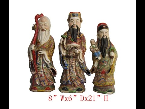 Set/3pcs Chinese Antique Colorful Porcelain Hand Made FuLuShou Statue WK2849