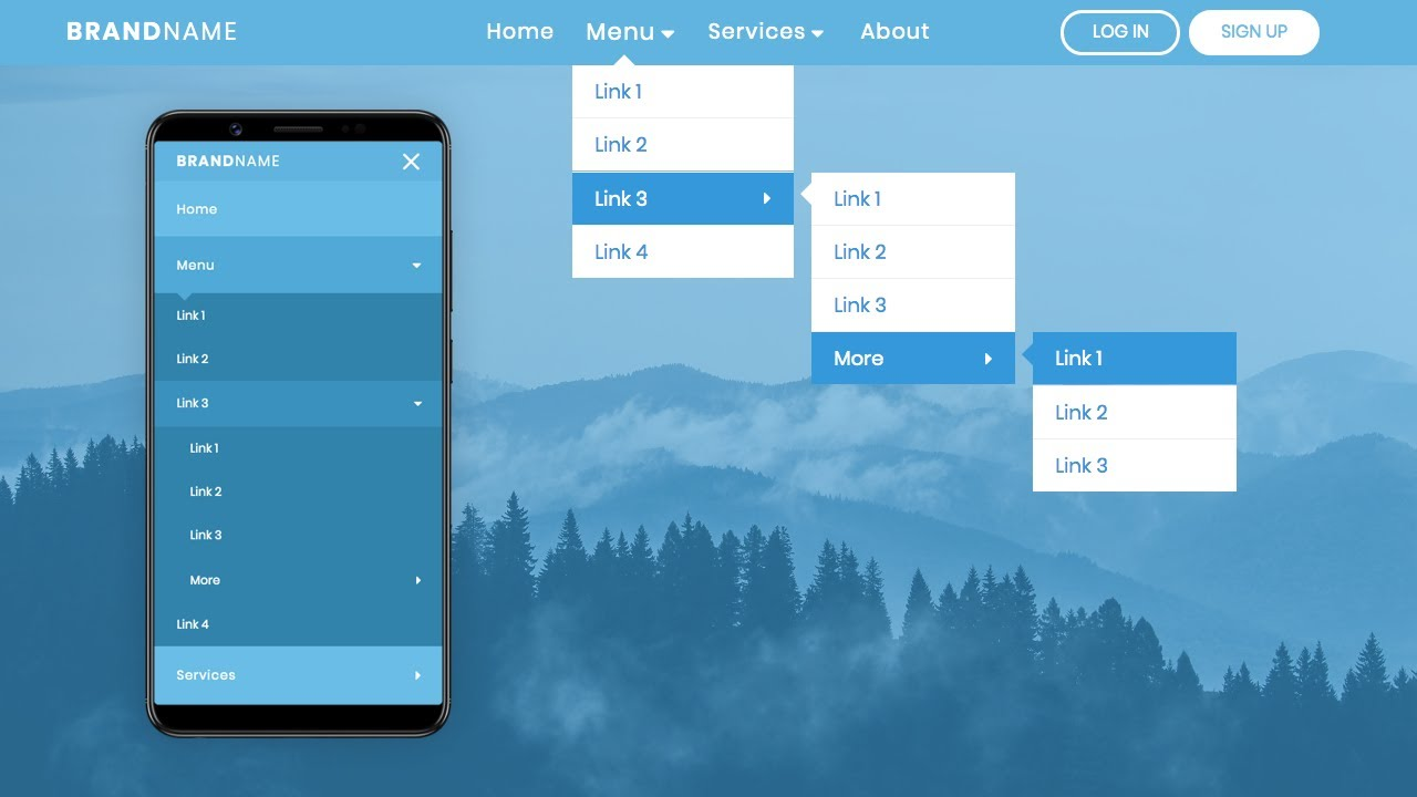 Responsive Animated Navigation Bar With Multi-level Dropdown Using Only HTML & CSS