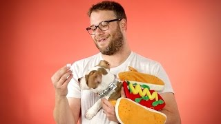 Seth Rogen Answers Fan Questions While Playing With Hot Dog Dogs