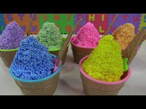 ❤Chị Bí Đỏ Làm Kem Cốm Đủ Màu Sắc Bằng Xốp ❤❤ Play Foam Ice Creams