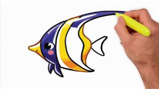 Coloring Pages-How to draw an Angelfish - animal draw with color step by step - Drawing Extra