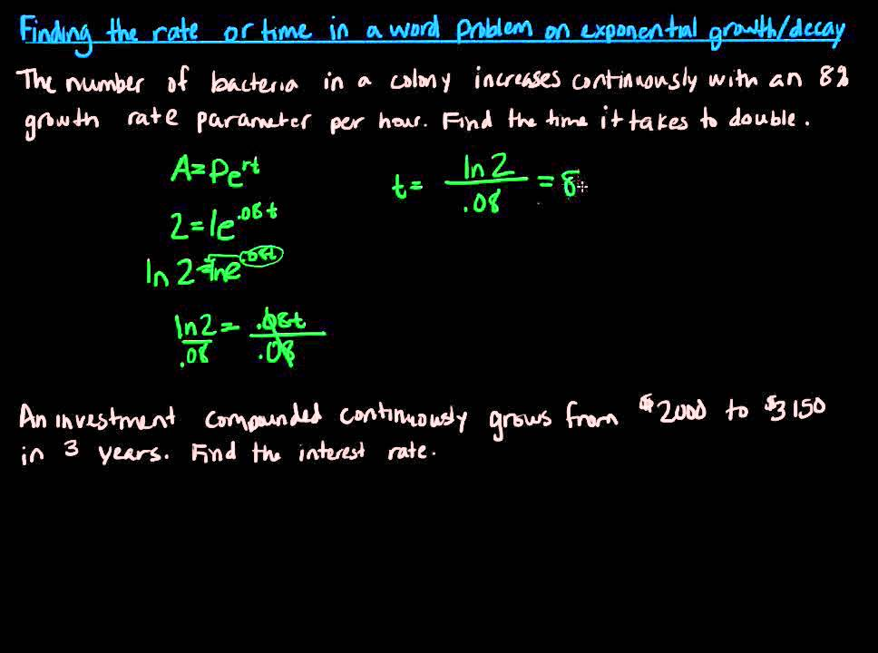 how to solve exponential growth and decay word problems