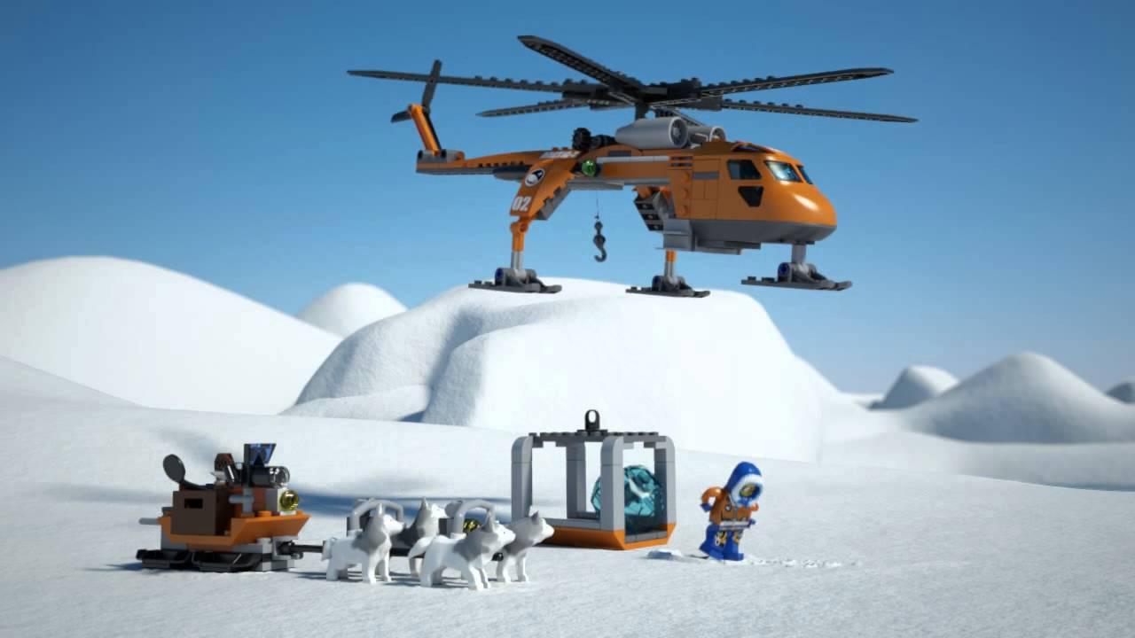 Lego City | Arctic | 60034 | Arctic Helicrane | Lego 3D Review - YouTube