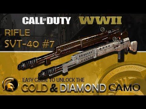 Call Of Duty WW2 - (GOLD Camo) #7 Rifle SVT-40 Easy Guide - Easy Headshots - DIAMOND CAMO RIFLES