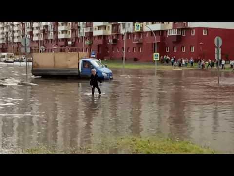 Тюмень затопило после ливня 18.06.2017