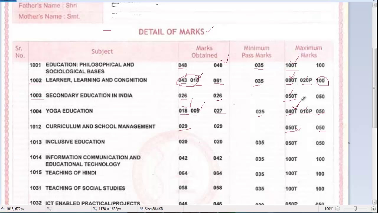 How to Calculate Theory and Practical Marks in B Ed Mark sheet of MDU  Rohtak Haryana
