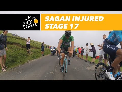 Sagan in Col du Portet following his crash - Stage 17 - Tour de France 2018
