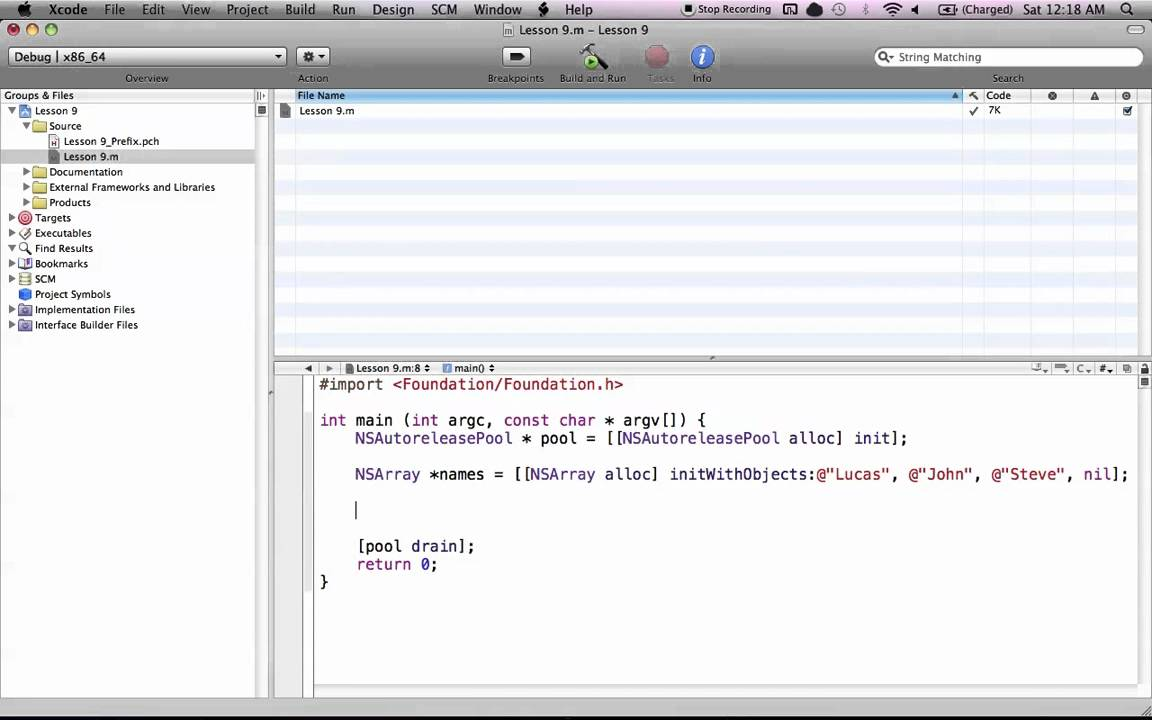 Objective-C on the Mac L9 – NSArray