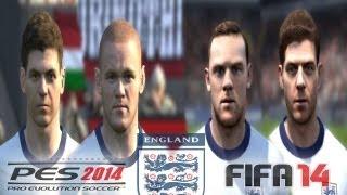 PES 2014 vs FIFA 14 FACE Comparison ENGLAND National Team