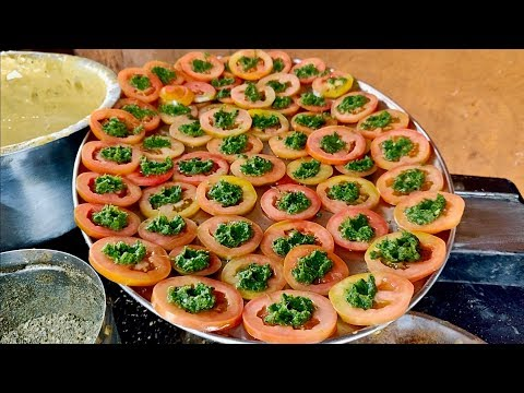 TOMATO BHAJIA | Amazing Varieties of Bhajias | Indian Street Food