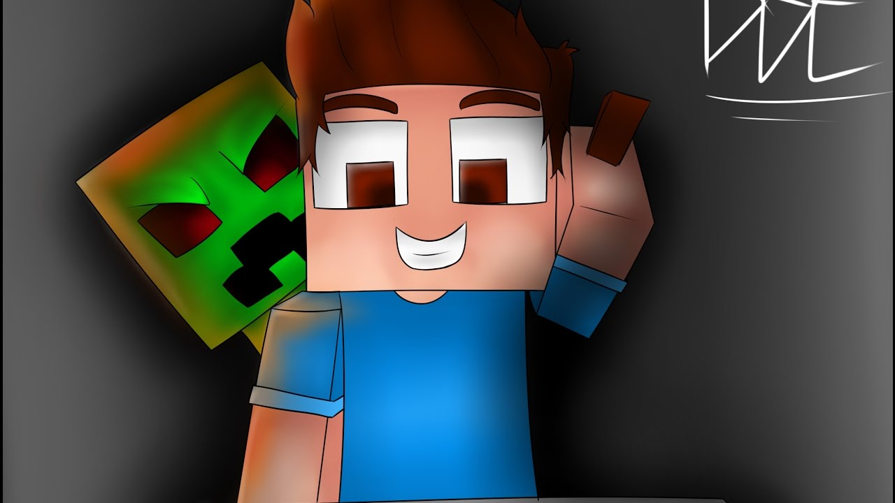 Wallpaper minecraft speed art drawing a wallpaper creeper and steve youtube - Minecraft creeper and steve ...