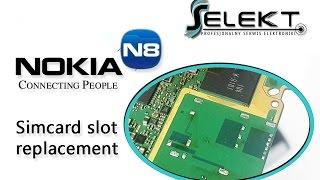 Nokia N8 (N8-00) Simcard slot replacement / Wymiana złącza karty SIM | Selekt