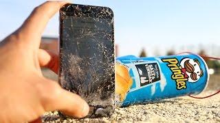 DESTRUCCIÓN de iPhone vs Pringles desde 300 Metros!! - Español