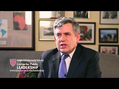 Gordon Brown talks about leadership with Dean Williams at Harvard