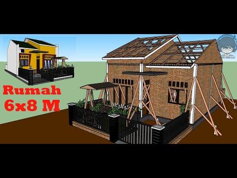 Desain Rumah Sederhana 6x8 Meter Dengan 2 Kamar Tidur Mzu Official Youtube