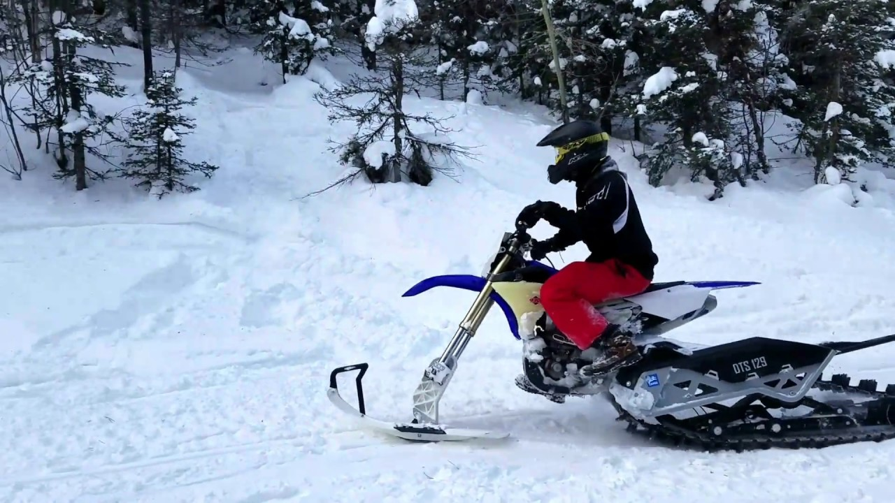 First Ride On The Camso 129 Snow Bike On 17 Yamaha 450fx Youtube