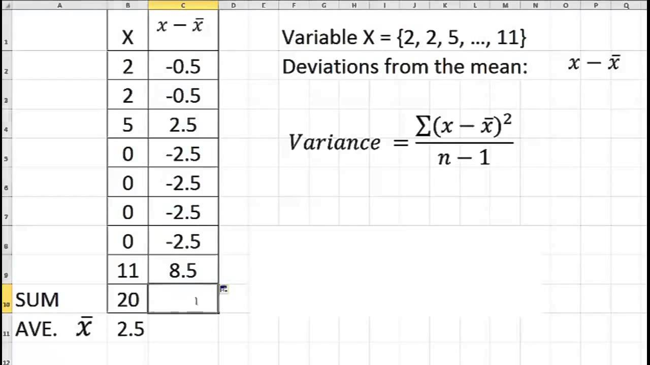 Calculate Variance With Excel (pc) Or Numbers (mac)