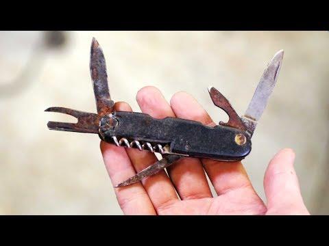 Restoring old broken pocket knife - New handle from bottle caps