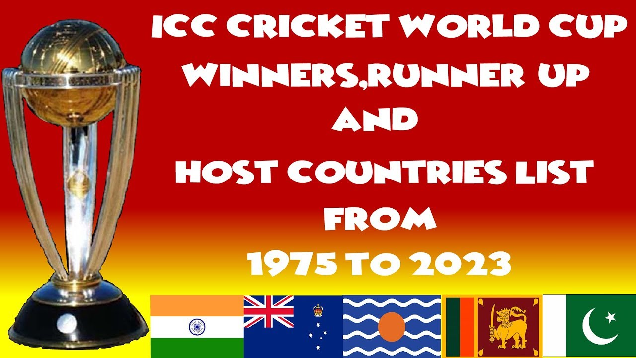 Icc Cricket World Cup Winners Runner Up And Host Countries List From 1975 To 2023