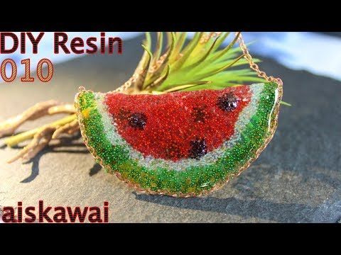 [Caviar Beads Painting] watermelon chain from resin, DIY your own summer jewelry/DIY resin