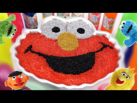 Mixing All Slime Smoothie in Elmo Cup | Learn Colors Rainbow Slime with  Sesame Street #ToyBus
