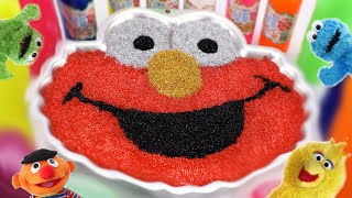 Mixing All Slime Smoothie in Elmo Cup   Learn Colors Rainbow Slime with  Sesame Street #ToyBus