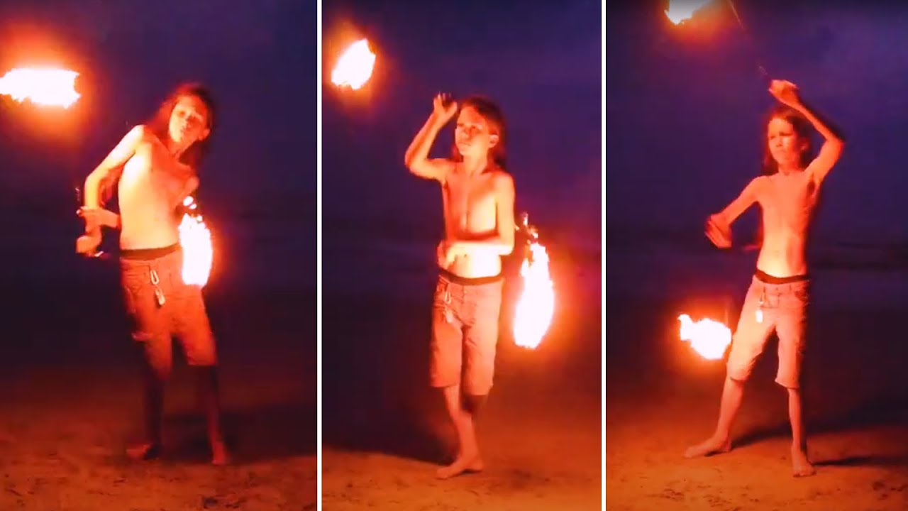 Small Kid Perform Amazing Fire Show in Goa Beach - Be A Creator