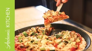 Multigrain Wheat Pizza with Roasted Vegetables by Archanas Kitchen