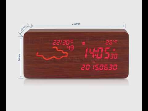 Wooden digital led clock