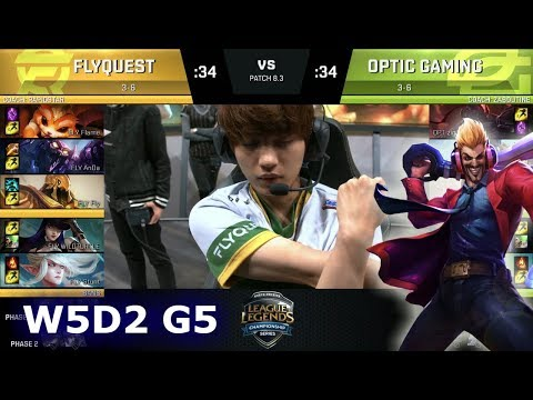 FlyQuest vs OpTic Gaming | Week 5 Day 2 of S8 NA LCS Spring 2018 | FLY vs OPT W5D2 G5