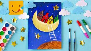 Как нарисовать ночь, домики, Луну, небо, космос/ Рисуем КРАСИВЫЙ рисунок/Школа рисования/РИСУЕМ ДОМА
