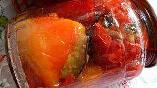 Перец фаршированный баклажанами.  Заготовки на зиму