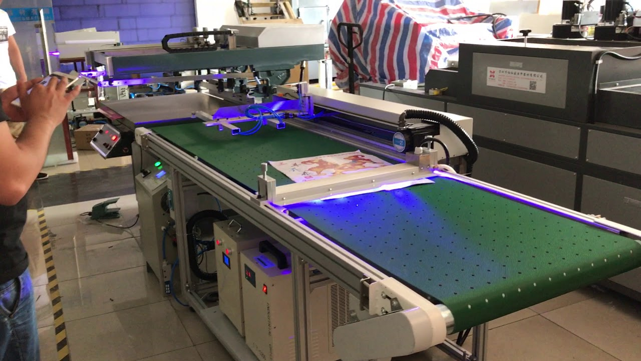 Screen Printer With Led Uv Curing System Youtube