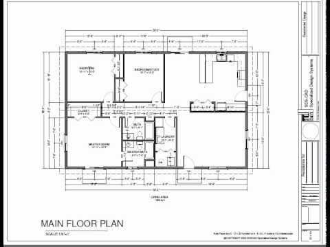 H74 ranch house plans 1600 sq ft slab 3bdrm 2 bth youtube for Slab house plans