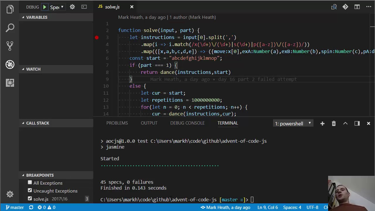 My Node js Visual Studio Code setup with Jasmine tests and debugging