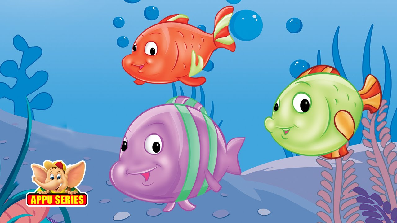 Kids Play With Fish Cartoon Pic