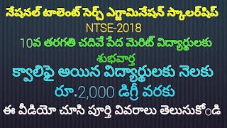 National Talent Search Examinations-2018 (NTSE-2018) Scholarships test  for 10th class students