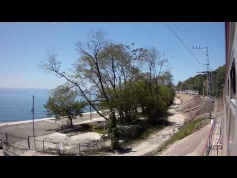 Travel in the train Tuapse-Sochi along the sea