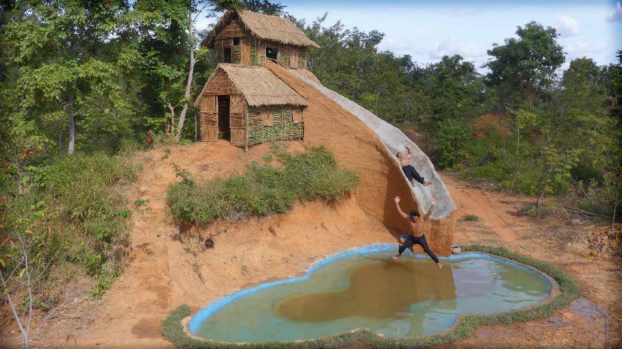 Building the Most Creative Ancient Two Story House and Water Slide with Swimming Pool