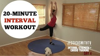 20 Minute Interval Cardio Bodyweight Strength Training Full Workout - No Equipment
