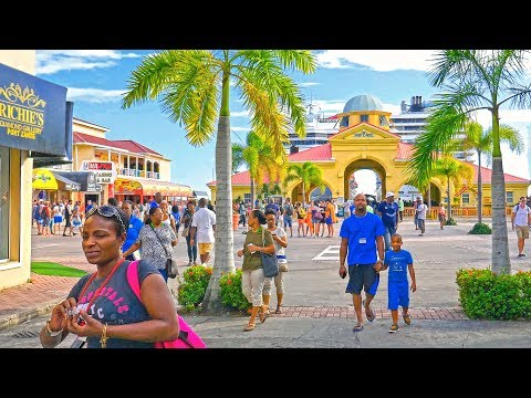 Caribbean island Saint Kitts port Basseterre city 2017 4K Cruise ships MSC and Carnival Sunshine.