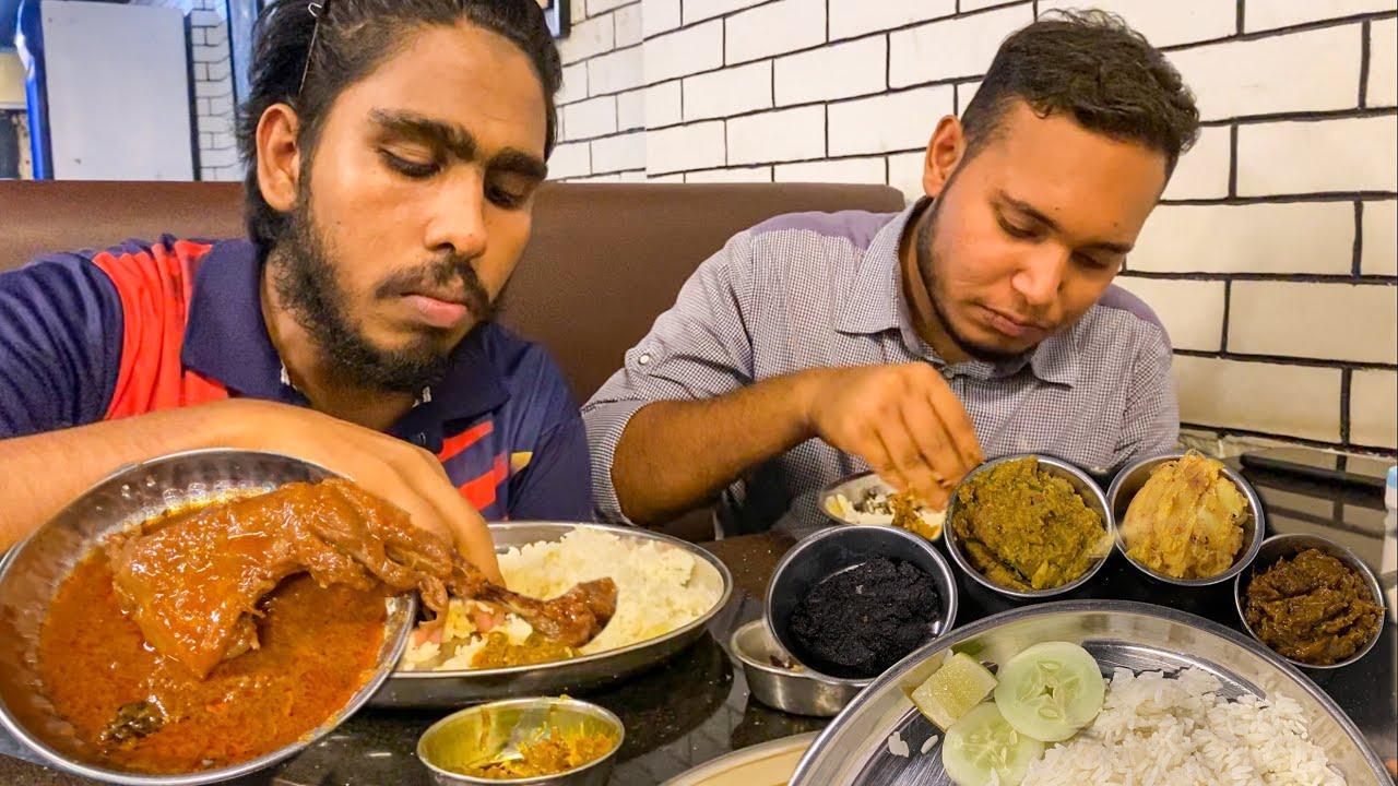 Eating Dinner(Rice & Spicy Chicken Curry, Shutki Bharta, Daal) With Friends at Bangaliyana Bhoj