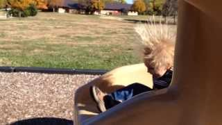 Static Hair Kid on Slide