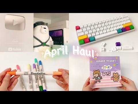April Haul// Dạo này mình mua gì? (200 tấm stickers, keyboard, nút bạc)//orangiee
