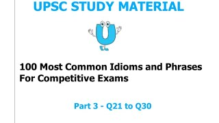 100 MOST COMMON IDIOMS & PHRASES FOR IBPS PO/CLERK 2019 | PART-3 ENGLISH IDIOMS & PHRASES 21-30