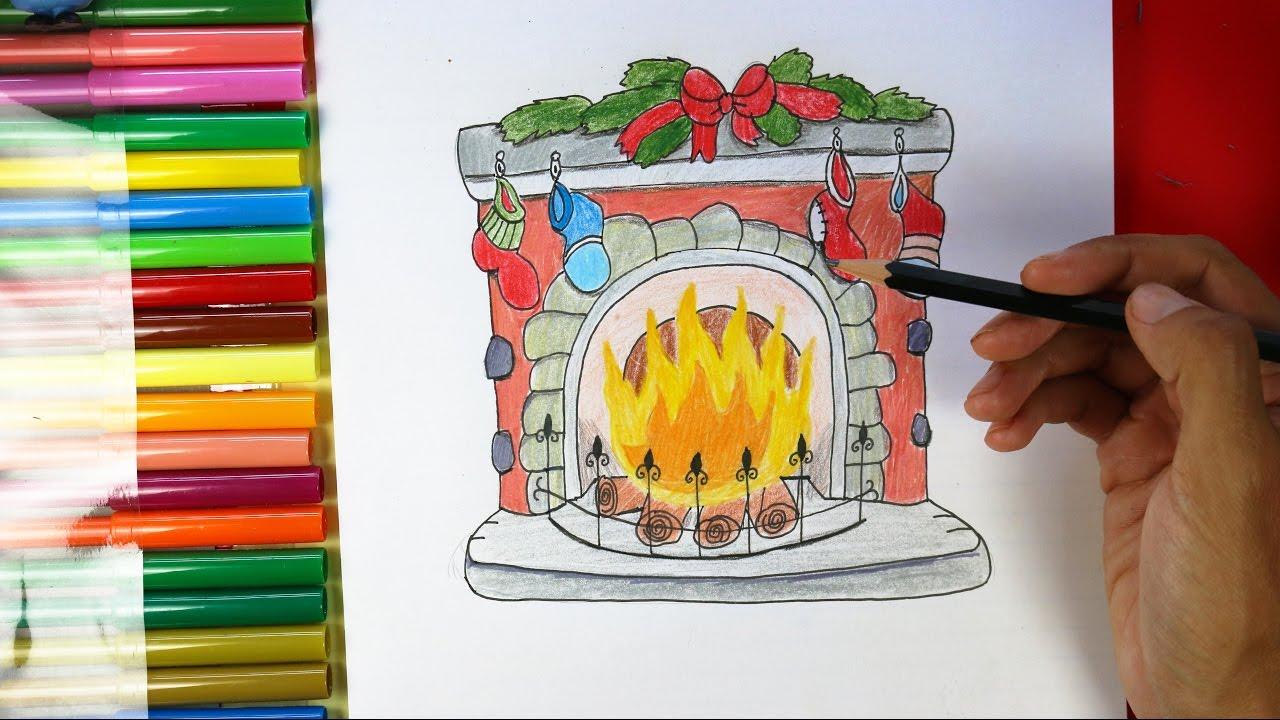 Dibujos Chimeneas De Navidad.How To Draw A Fireplace For Christmas Como Dibujar Una Chimenea Para La Navidad