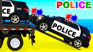 FUN POLICE CARS Transportation & Spiderman Cartoon for Kids and Colors for Children Nursery Rhymes